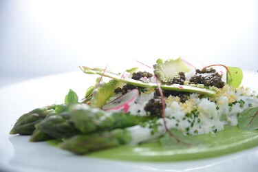 Blanched & raw asparagus salad with champagne creme fraiche
