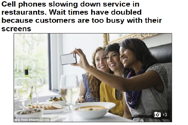 Restaurants blame cellphones