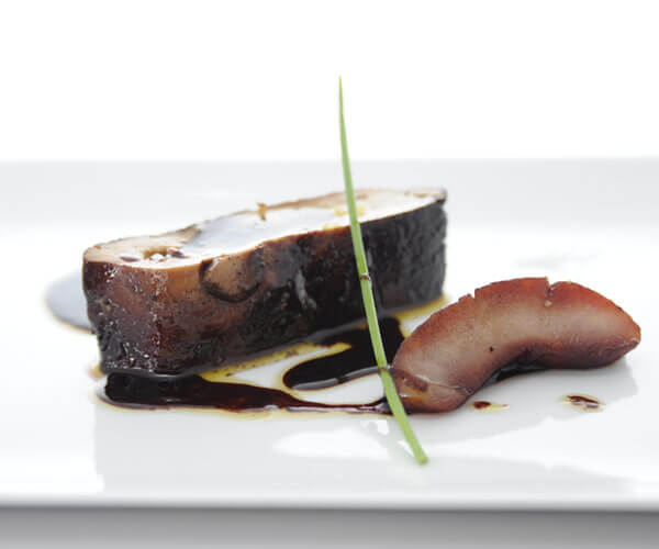 Braised whole foie gras with apple & port wine