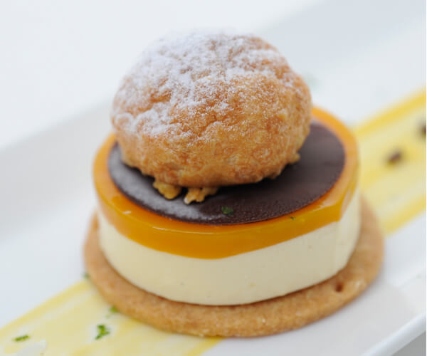 Gruyère Choux Puff, Yuzu Parfait and Exotic Fruits Coulis