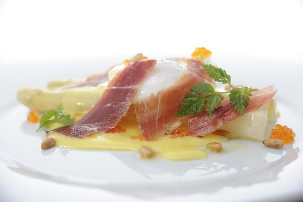 White Asparagus With Organic Poached Egg, Iberico Ham & Ikura & Hollandaise