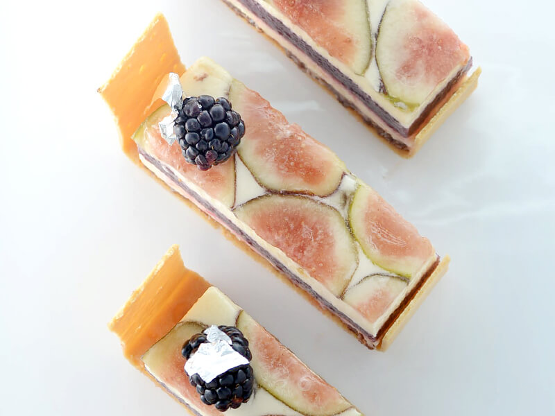 black mission fig, pink grapefruit, fig & blackberries jam with pistachio almond cream & mascarpone Chantilly tart